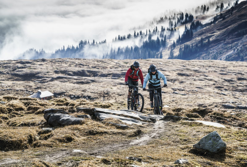 mountain biking in laax alps switzerland