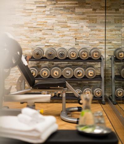 dumbbells in fitness room La Senda Spa Sporthotel Peaks Place Laax
