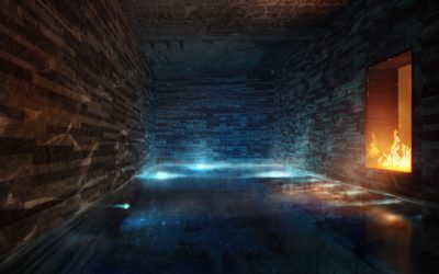 grotto whirlpool and fireplace at la senda wellness and spa laax at peaks place