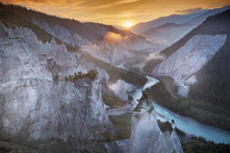 rhine gorge river in alps mountain canyon