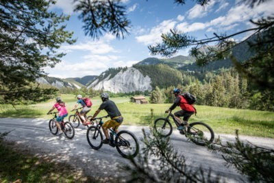 bike tour in mountains alps in flims area laax