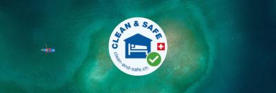 Clean und Safe Logo auf Wasser See Hintergrund Hygiene Peaks Place